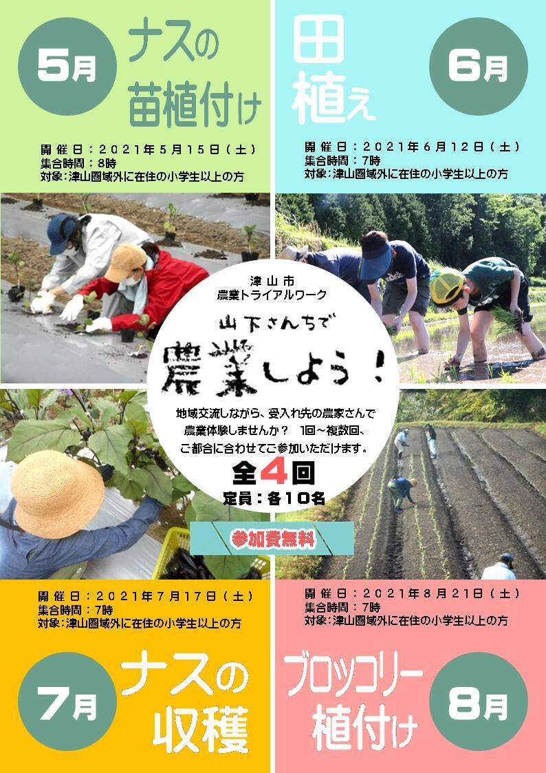 2021年度 津山市農業トライアルワーク(年間コース)参加者募集のお知らせ