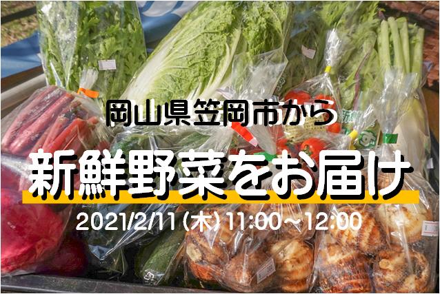 【2/11開催】笠岡市の採れたて新鮮野菜と産品をお届けして3分クッキングをします!